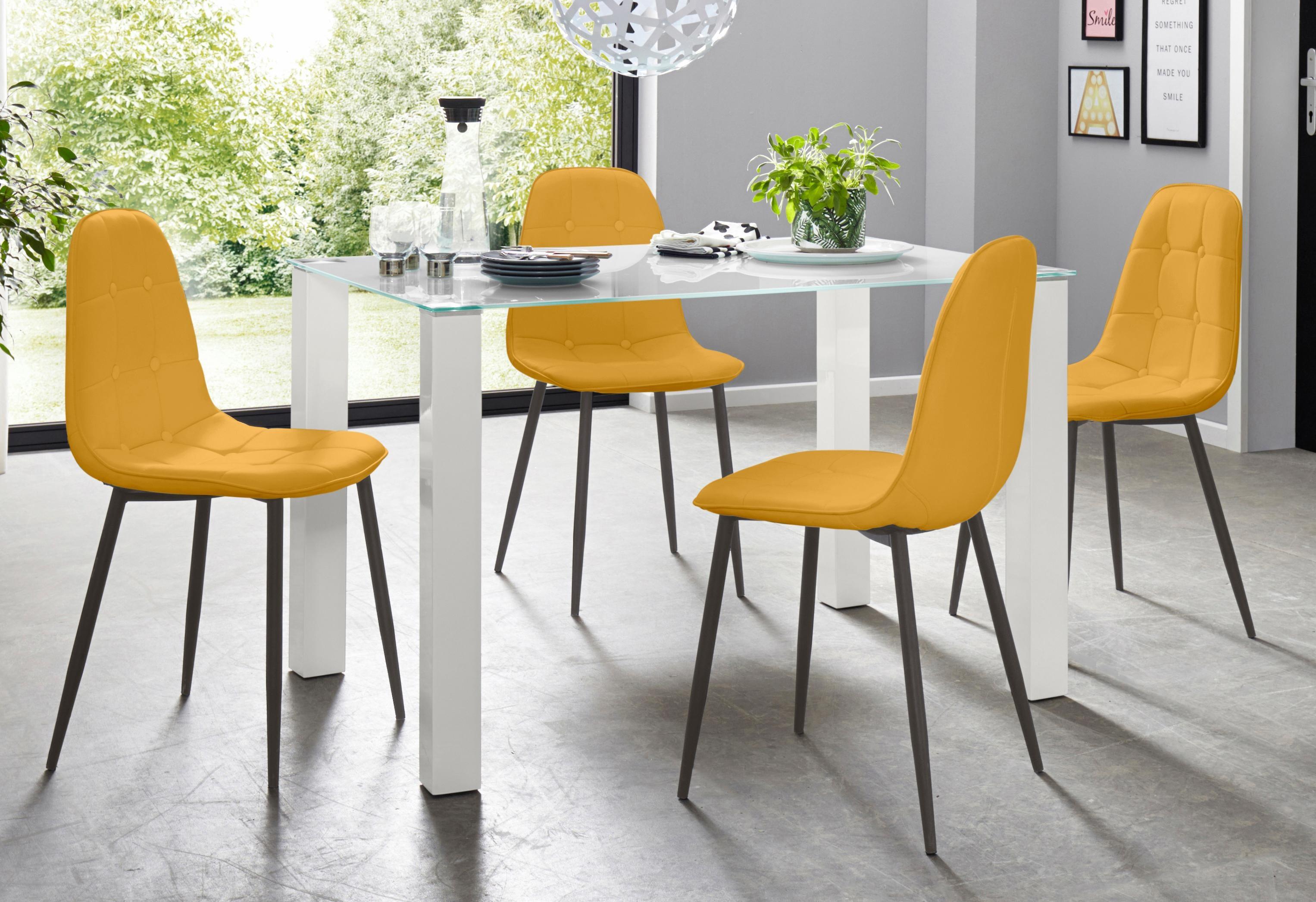 Essgruppe 5-teilig mit Glastisch 120 cm breit | Wohnzimmer > Tische > Glastische | Gelb