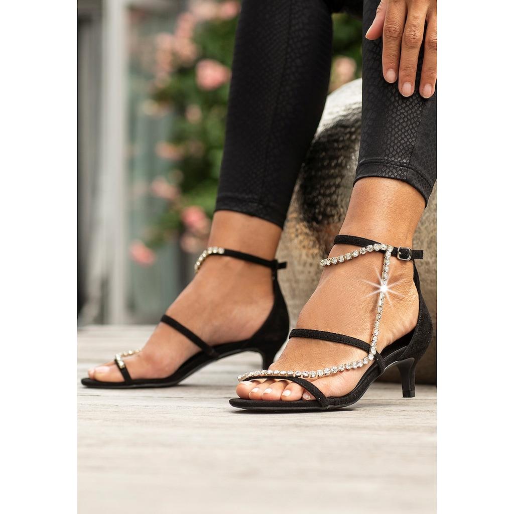 LASCANA Sandalette, mit aufwendiger Schmuckkette und bequemer Absatzhöhe