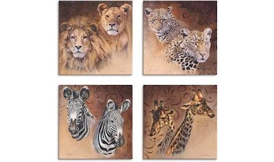 Artland Leinwandbild »Löwen Leoparden Zebra Giraffen«, Wildtiere, (4 St.) kaufen