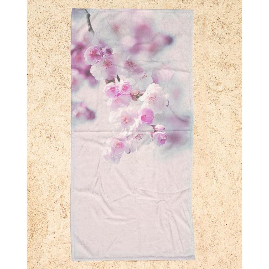 Juniqe Strandtuch »Pastel Rose Cherry II«, (1 St.), Weiche Frottee-Veloursqualität