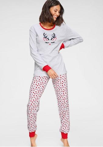 Schiesser Pyjama, mit weihnachtlichem Rentier-Print kaufen