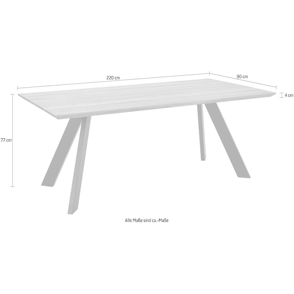 Premium collection by Home affaire Esstisch »Barnet«, mit massiver Tischplatte in eckiger Form