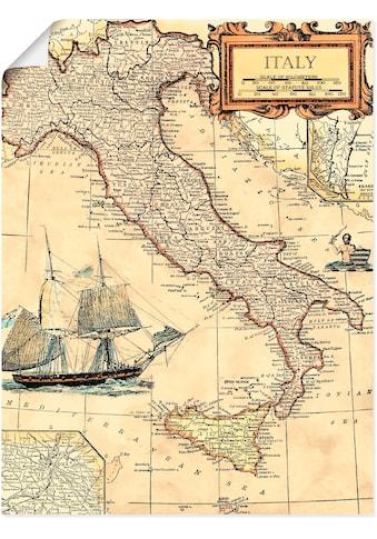 Artland Wandbild »Italienkarte«, Landkarten, (1 St.), in vielen Größen & Produktarten - Alubild / Outdoorbild für den Außenbereich, Leinwandbild, Poster, Wandaufkleber / Wandtattoo auch für Badezimmer geeignet kaufen