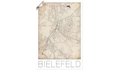 Artland Wandbild »Retro Karte Bielefeld Deutschland Grunge«, Deutschland, (1 St.), in vielen Größen & Produktarten - Alubild / Outdoorbild für den Außenbereich, Leinwandbild, Poster, Wandaufkleber / Wandtattoo auch für Badezimmer geeignet kaufen