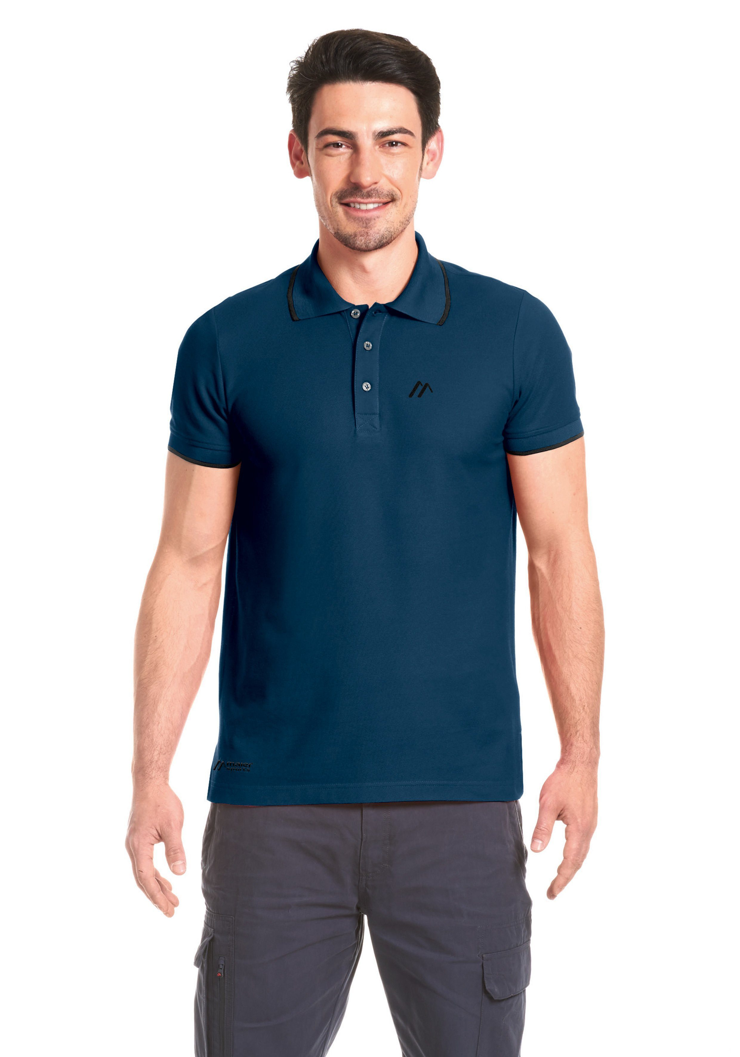 Maier Sports Funktionsshirt Comfort Polo M | Sportbekleidung > Sportshirts > Funktionsshirts | Blau | Jersey - Baumwolle - Polyester | Maier Sports