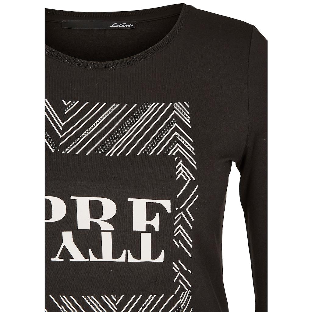LeComte Print-Shirt, mit Front-Druck und Ziersteinchen