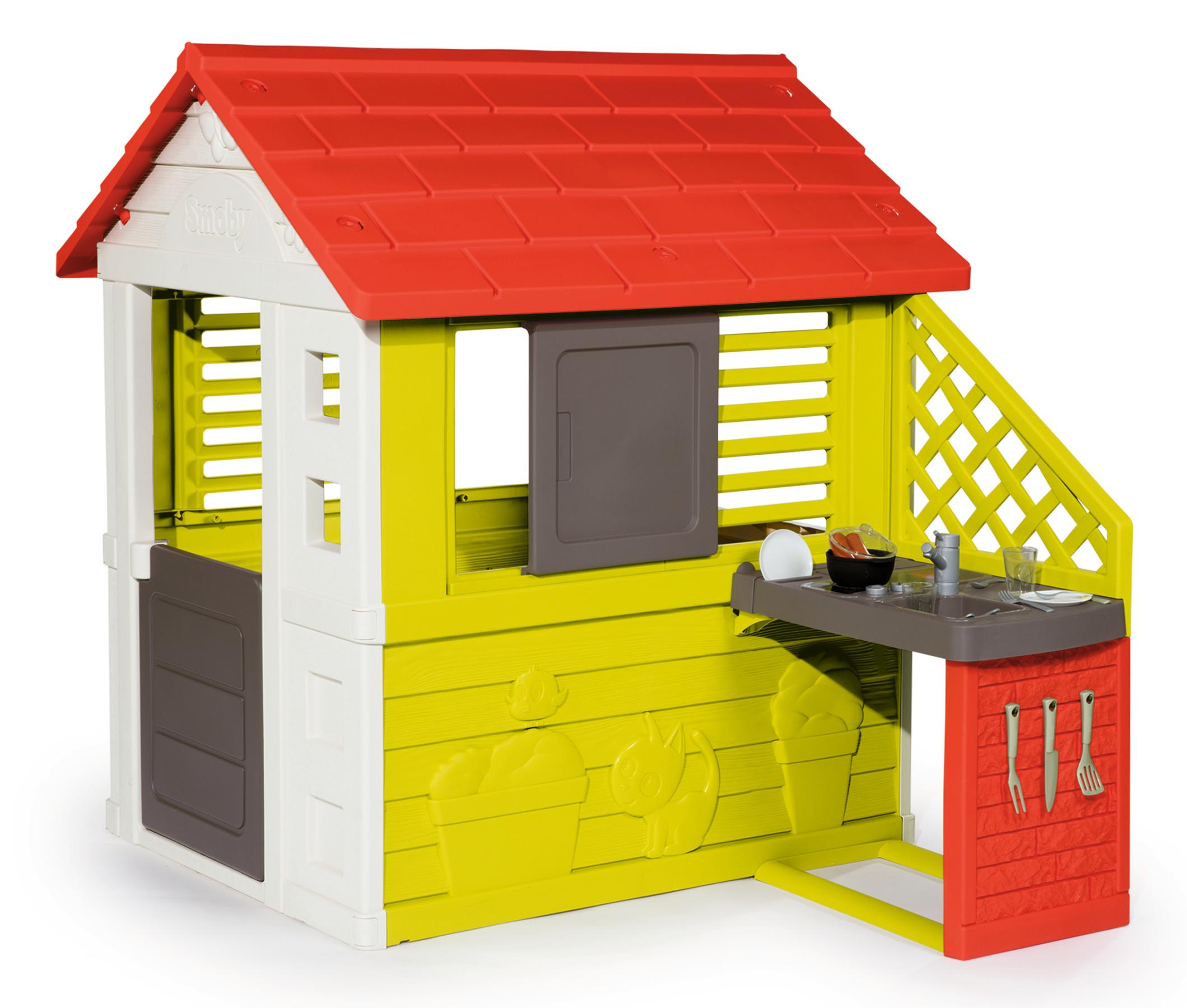 Smoby Spielhaus Natur mit Sommerküche, Made in Europe bunt Kinder Ab 2 Jahren Altersempfehlung