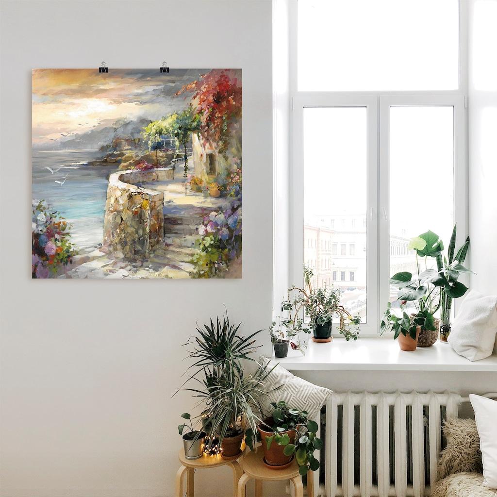 Artland Wandbild »Möwen und Sonnenuntergang«, Gewässer, (1 St.), in vielen Größen & Produktarten -Leinwandbild, Poster, Wandaufkleber / Wandtattoo auch für Badezimmer geeignet