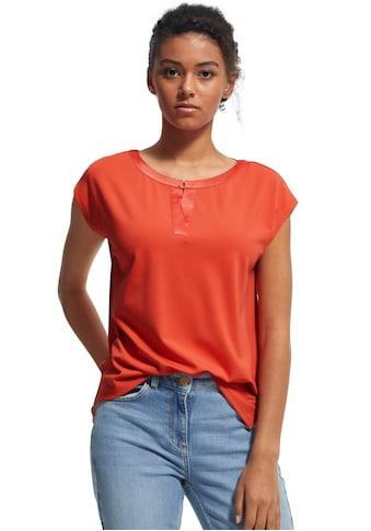 Comma V-Shirt, mit Satinblende, aus weichem Interlock-Jersey kaufen