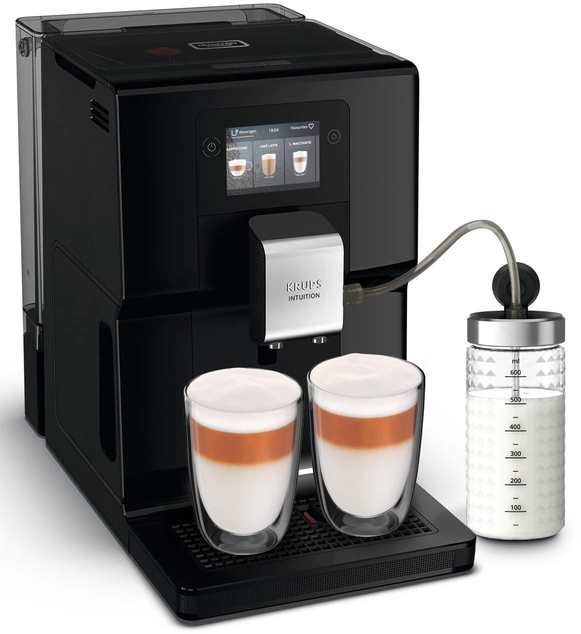 Krups Kaffeevollautomat EA8738 Intuition Preference, inkl. Milchbehälter und smartphoneähnlichem Farb-Touchscreen 11 einstellbare Getränkeoptionen