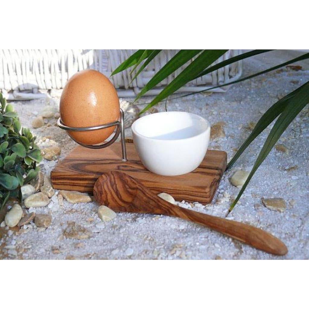 Olivenholz-erleben Eierbecher »Design Plus«, (Set, Eierbecher mit Eierlöffel), Olivenholz, Handarbeit