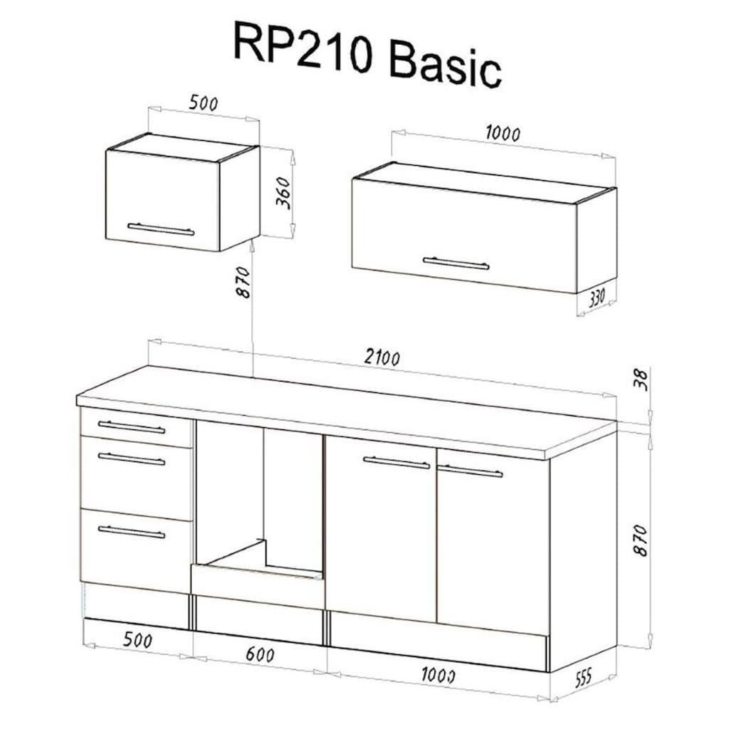 RESPEKTA Küchenzeile »RP210«, mit E-Geräten, Breite 210 cm