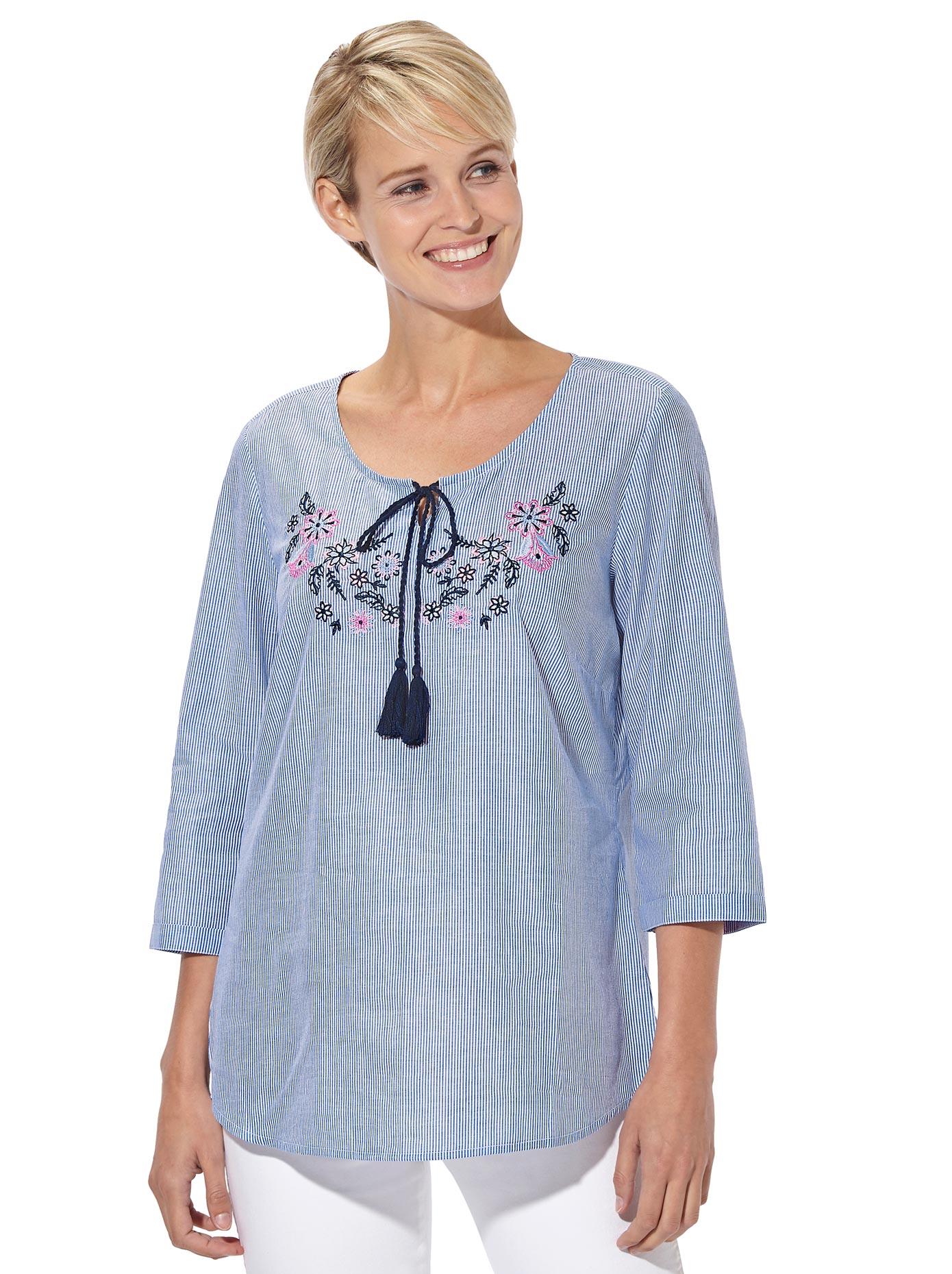 Classic Basics Bluse mit Blüten-Stickerei