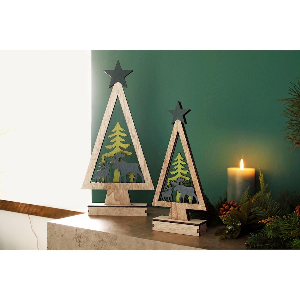 LED Dekoobjekt »Baum mit Rentieren«, 2-teilig