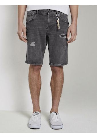 TOM TAILOR Denim Jeansshorts »Jeansshorts im Destroyed - Look mit Schlüsselanhänger« kaufen