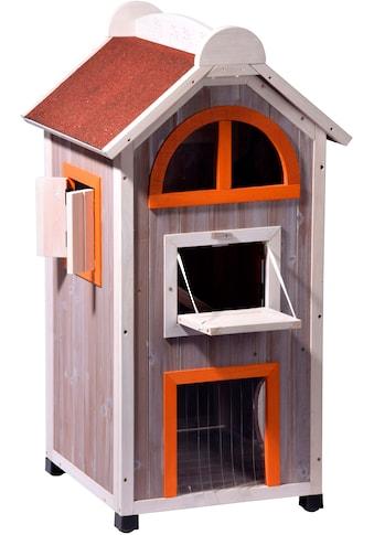 DOBAR Katzenhaus »Fancy Cat«, BxLxH: 58x55x109 cm, grau/rot/orange kaufen
