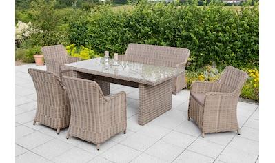 MERXX Gartenmöbelset »Riviera«, 11 - tlg., 4 Sessel, 3er - Bank, Tisch, Kunststoff/Stahl kaufen