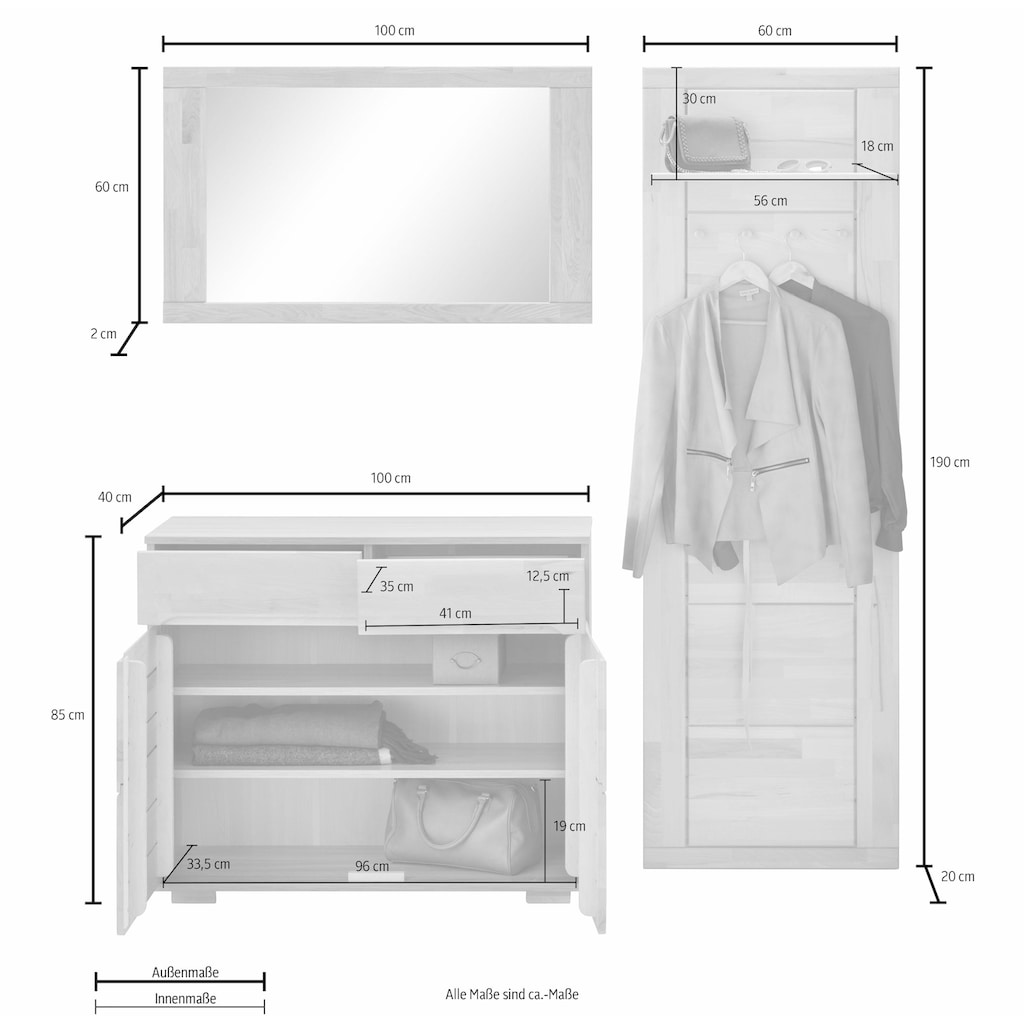Garderoben-Set »Vetro«, (Set, 3 St.)