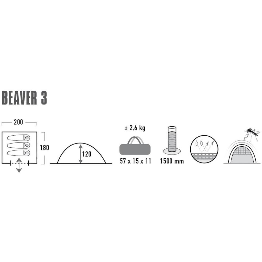 High Peak Kuppelzelt »Zelt Beaver 3«, 3 Personen, (mit Transporttasche)