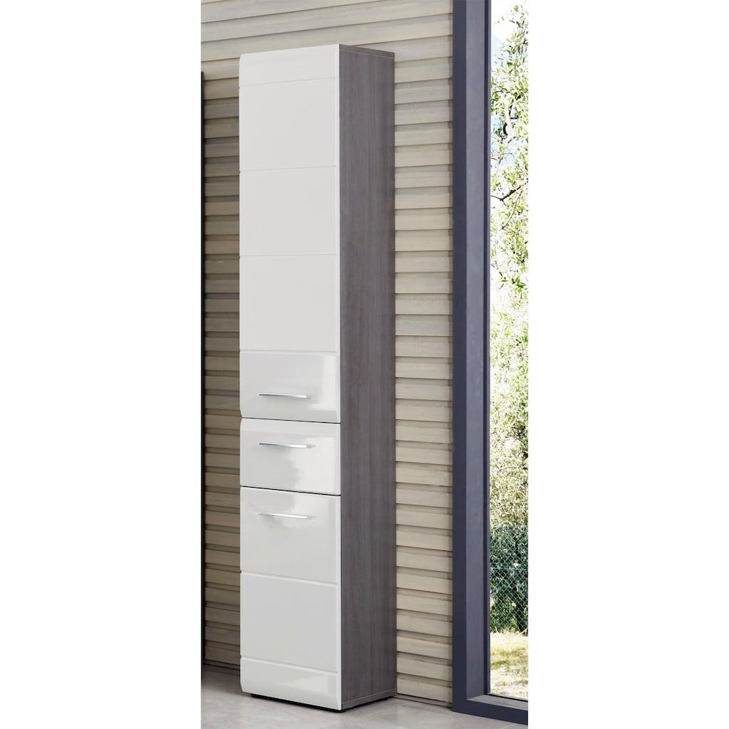 trendteam Hochschrank »Skin«, Höhe 182 cm, Badezimmerschrank mit Fronten in Hochglanz- oder Holzoptik, mit Schubkasten