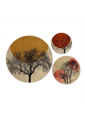 Wall-Art Mehrteilige Bilder »Warmer Sonnenuntergang rund«, (Set, 3 St.) kaufen