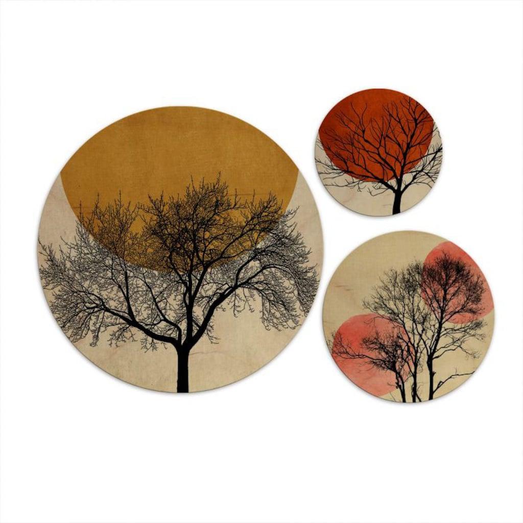 Wall-Art Mehrteilige Bilder »Warmer Sonnenuntergang rund«, (Set, 3 St.)