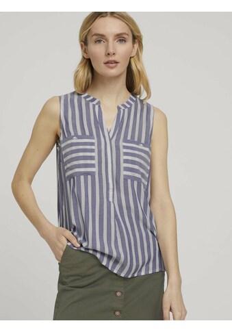 TOM TAILOR Blusentop »Ärmellose Bluse mit Streifen« kaufen
