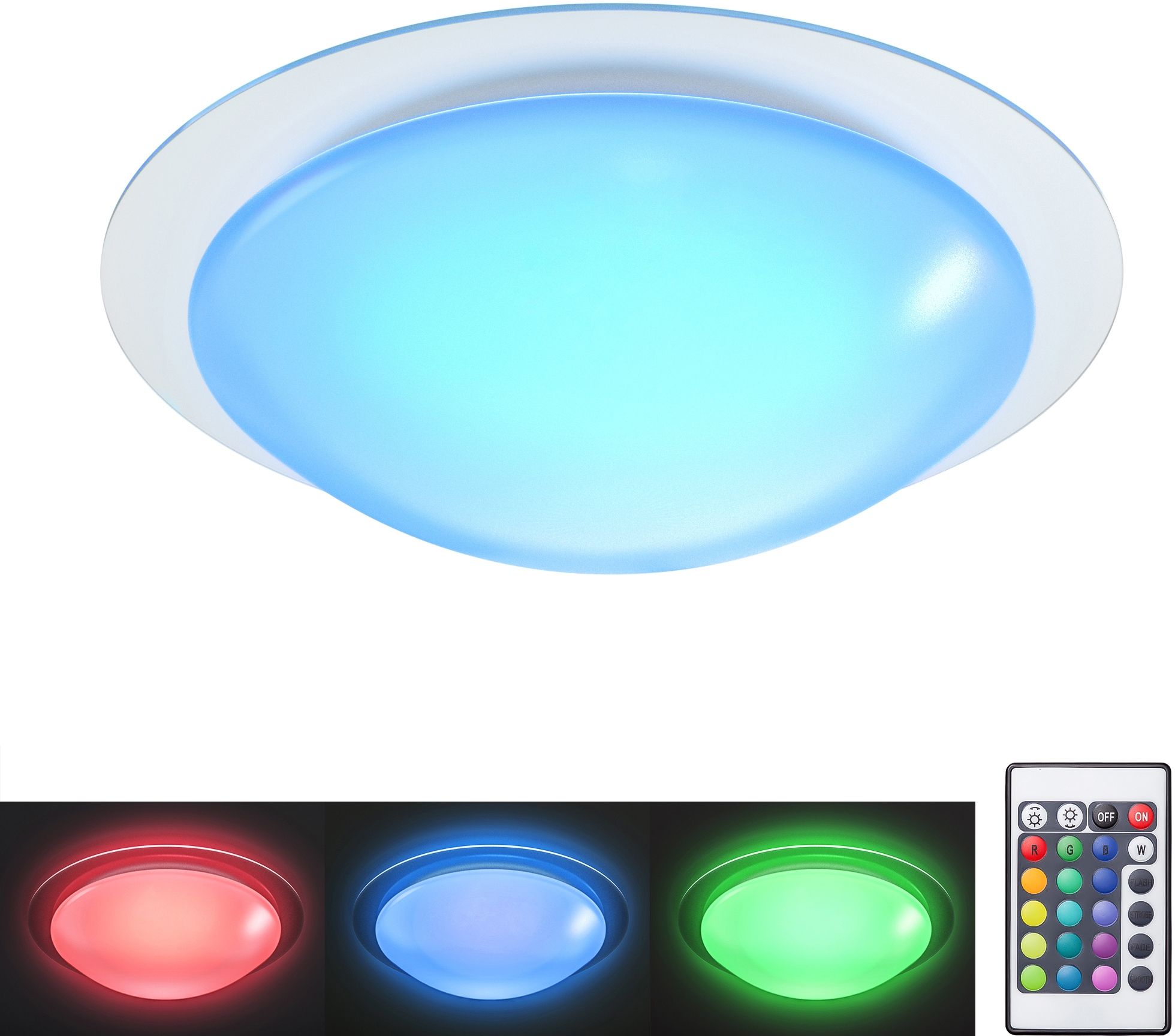 B.K.Licht LED Deckenleuchte Askella, LED-Board, Warmweiß-Farbwechsler, LED Deckenlampe dimmbar RGB Funktion inkl. 12 W LED 800 Lumen Warmweiß IP44