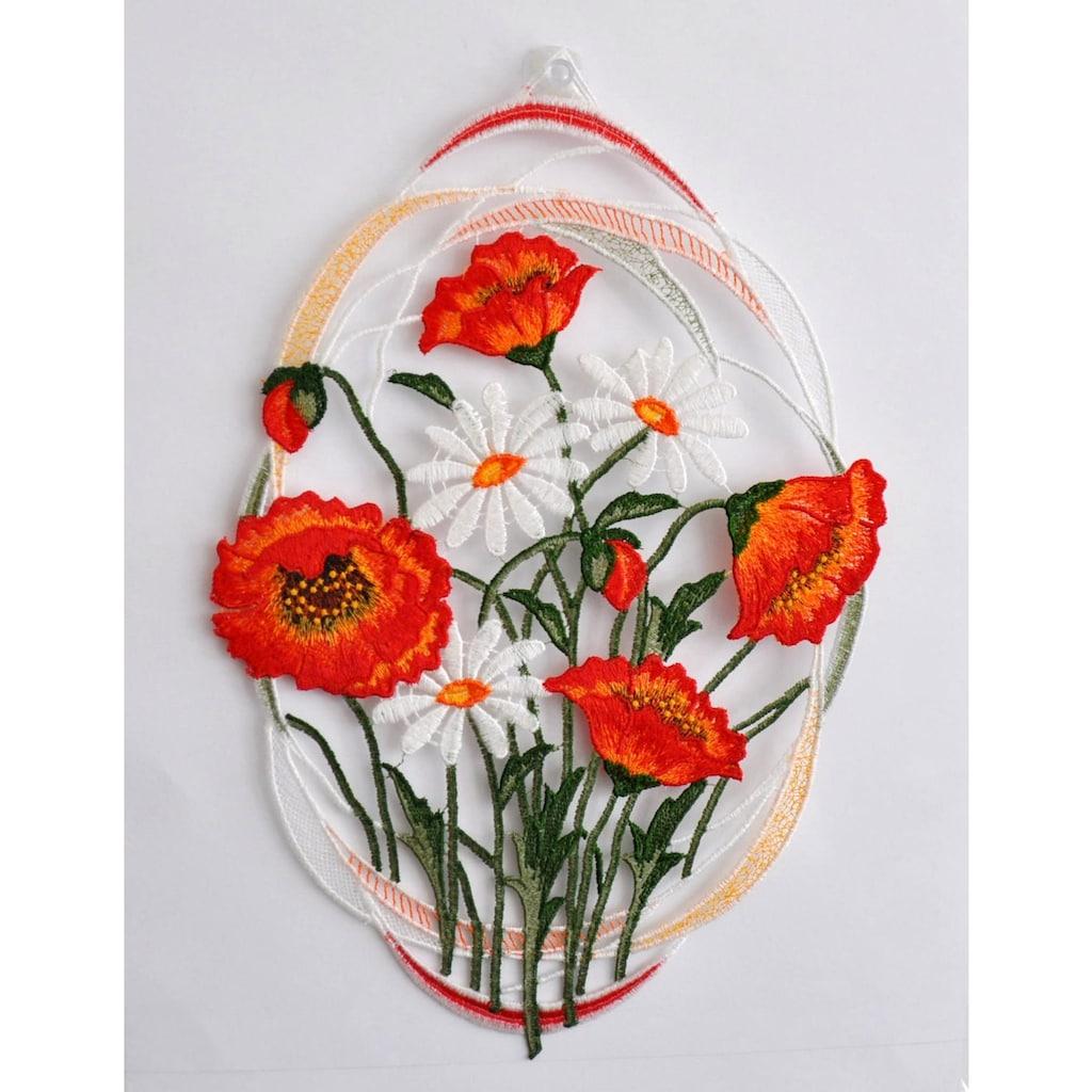 Stickereien Plauen Fensterbild »Mohnblumen«, mit echter Plauener Spitze Stickerei