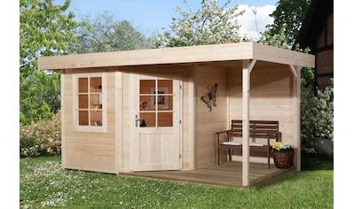 WEKA Set: Gartenhaus »Designhaus 213A Gr.1«, BxT: 442x278 cm, mit Anbaudach + Rückwand und Boden im Haus kaufen
