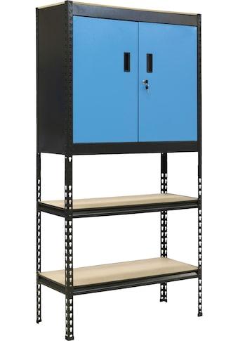 Güde Steckregal, B/T/H: 90x40x183 cm, mit Schrank & 4 Regalböden kaufen