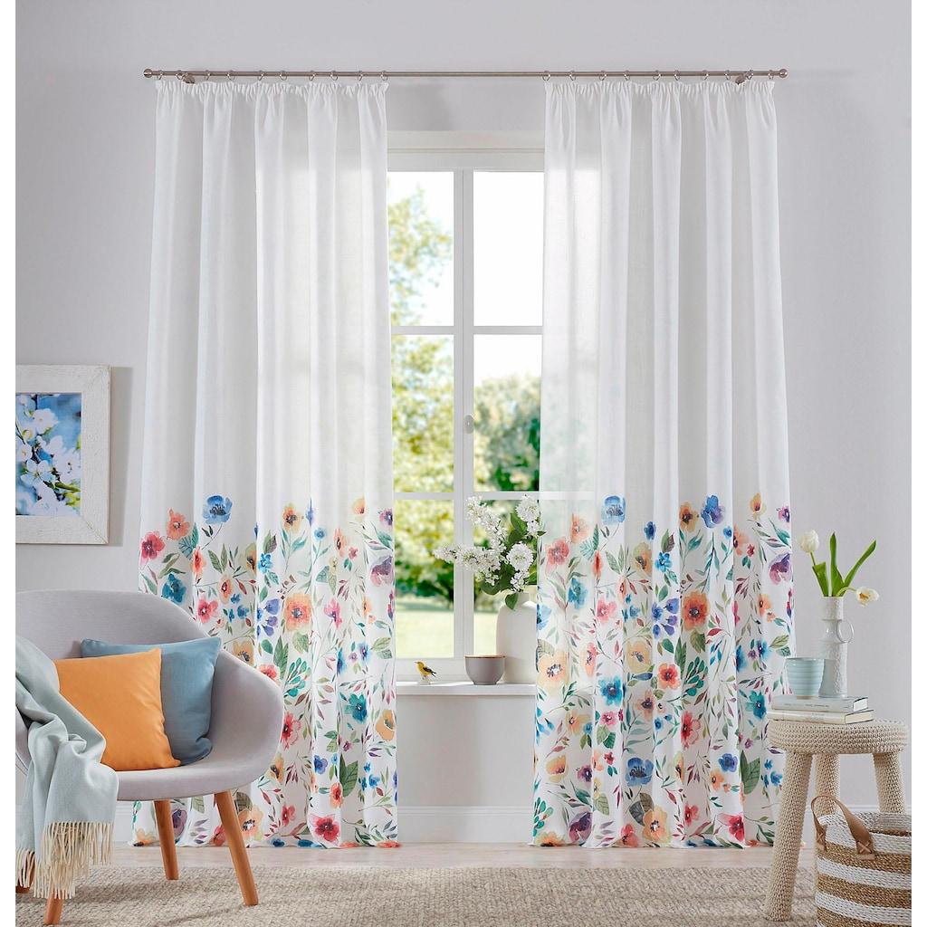 Home affaire Gardine »Naila«, blickdicht, bedruckt, Blumenmuster, pflegeleicht