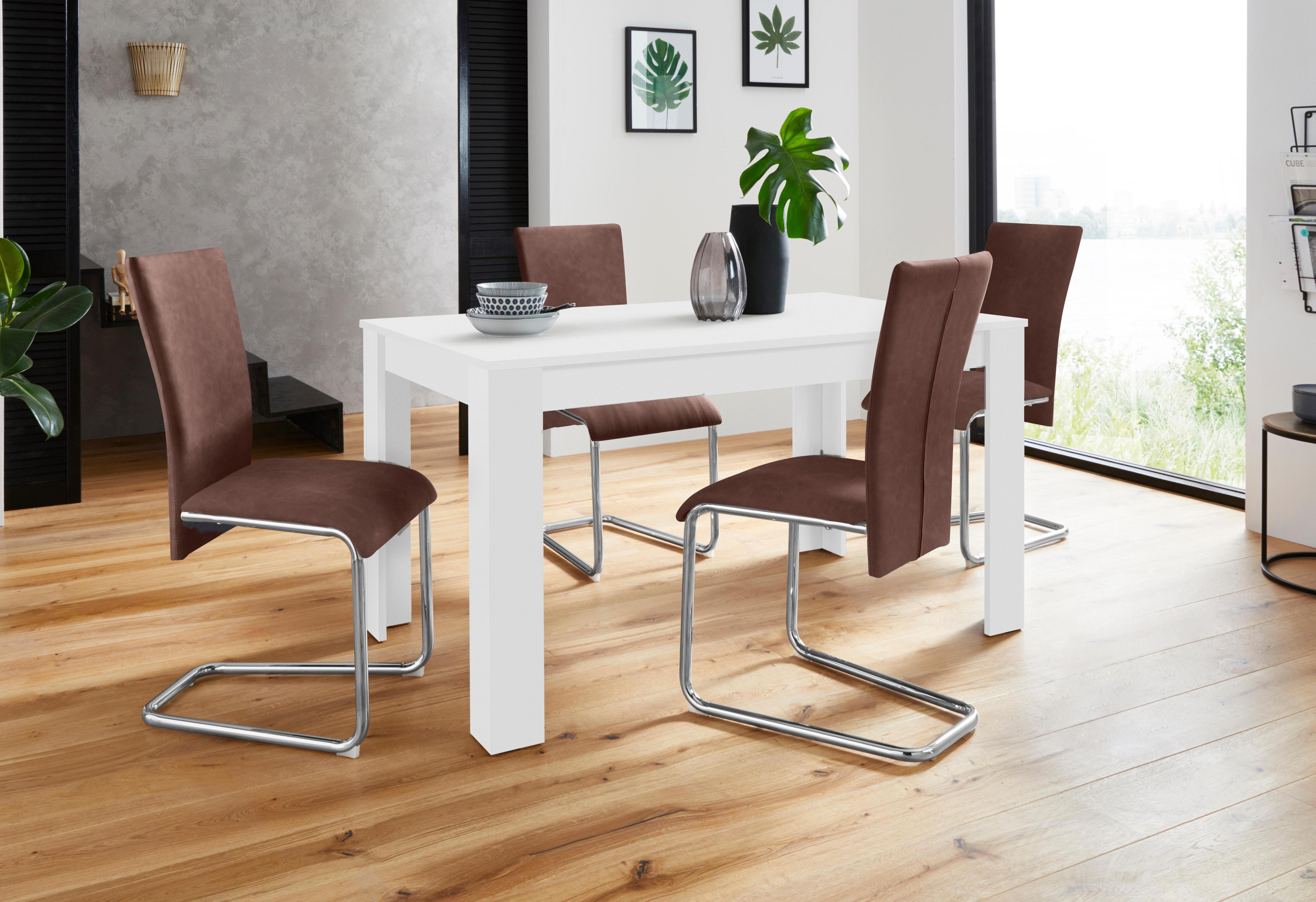 Homexperts Essgruppe Nick3-Mulan mit 4 Stühlen Tisch in weiß Breite 140 cm