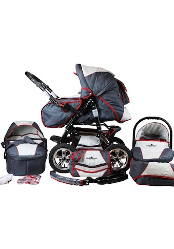 "bergsteiger Kombi - Kinderwagen ""Milano, grey & red stripes, 3in1"", (10 - tlg.) kaufen"