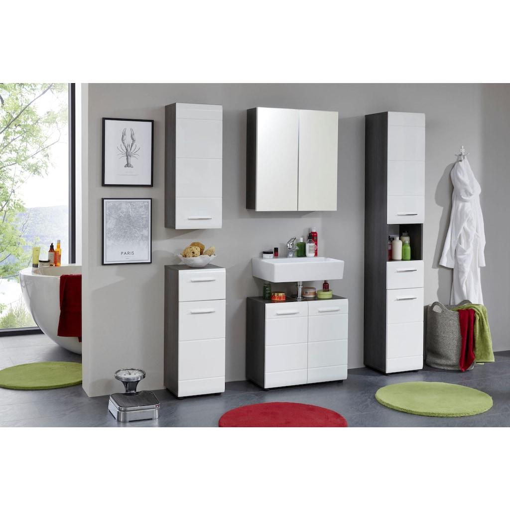 trendteam Hängeschrank »Skin«, Höhe 77 cm, Badezimmerschrank mit Fronten in Hochglanz- oder Holzoptik