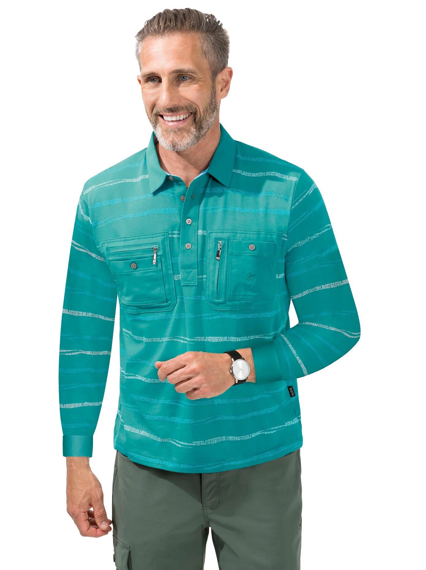 Hajo Langarm-Poloshirt blau Herren Langarm Shirts Poloshirts