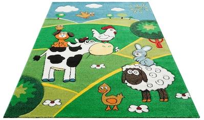 Lüttenhütt Kinderteppich »Bauernhof«, rechteckig, 13 mm Höhe, Motiv Tiere,... kaufen