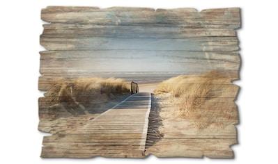 Artland Holzbild »Nordseestrand auf Langeoog - Steg«, Strand, (1 St.) kaufen