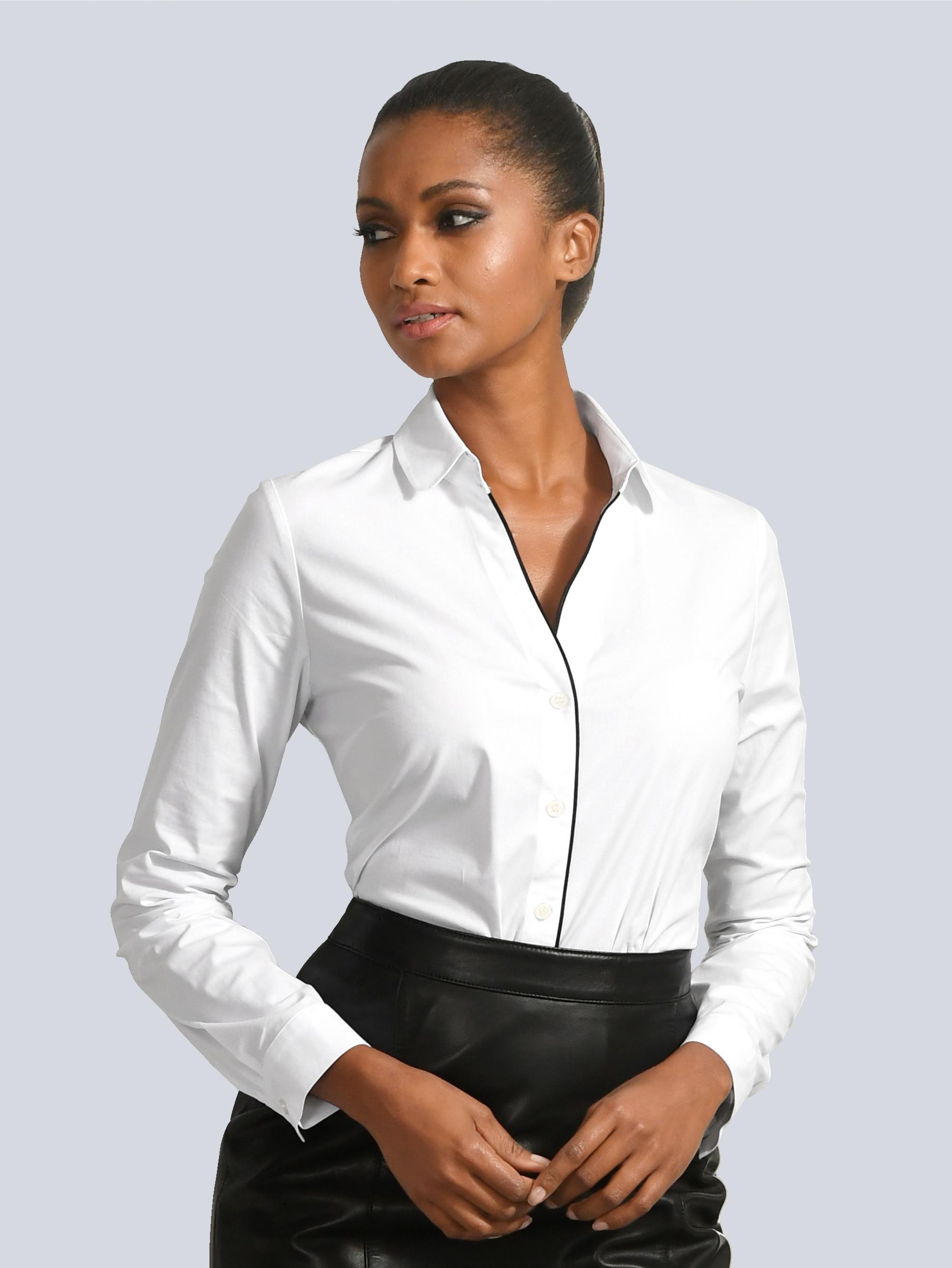 Alba Moda Bluse mit kontrastfarbigem Piping