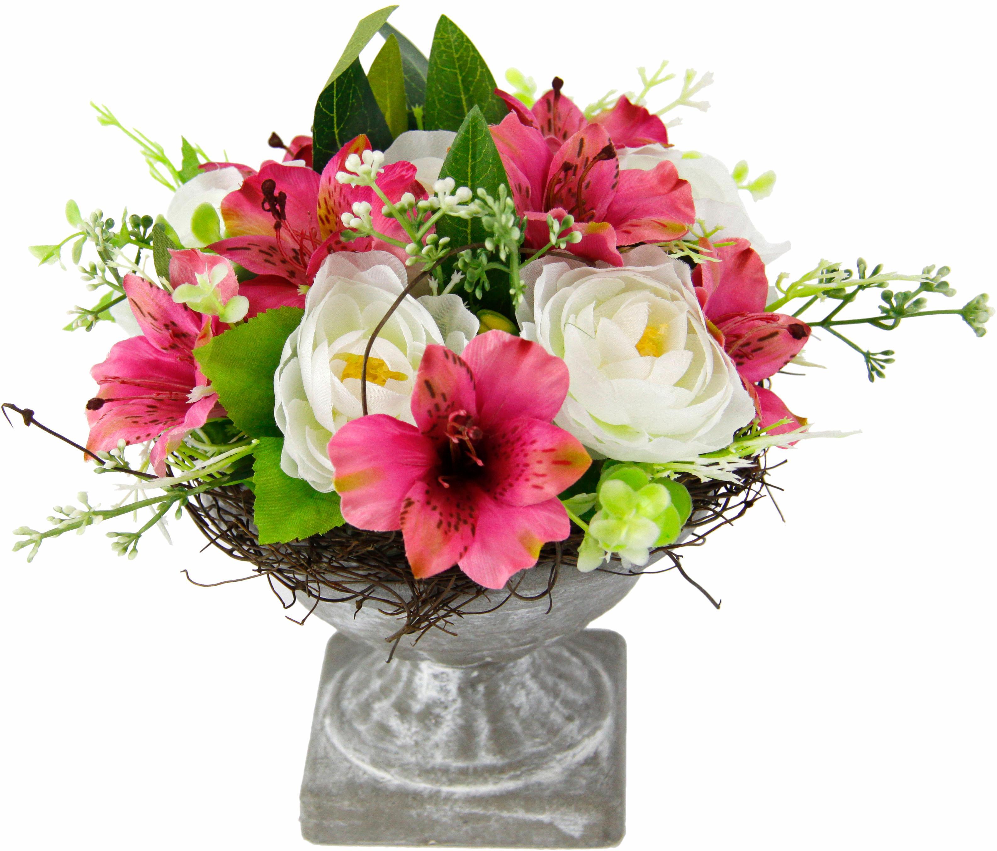 Kunstpflanze Gesteck Ranunkel in Pokal   Dekoration > Dekopflanzen > Kunstpflanzen   Rosa