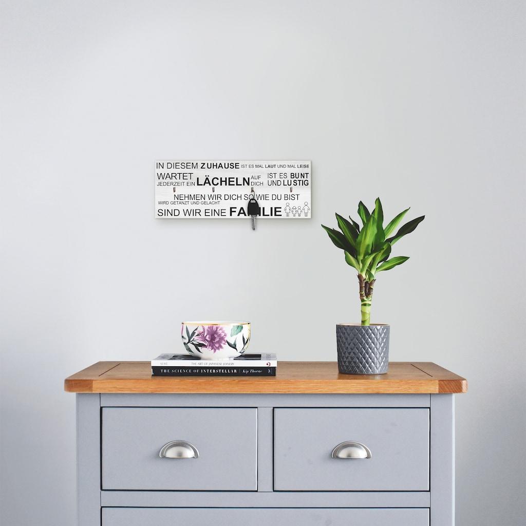 Artland Schlüsselbrett »In diesem Zuhause_weiß«, aus Holz mit 4 Schlüsselhaken – Schlüsselboard, Schlüsselbretter, Schlüsselhalter, Schlüsselaufhänger für den Flur – Stil: Modern