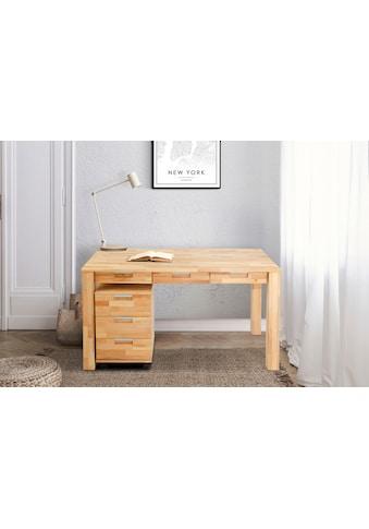 Home affaire Büro-Set »Robi«, (2 tlg.), aus massiv geöltem Buchenholz, bestehend aus Robi Schreibtisch 135 cm und einem Rollcontainer kaufen