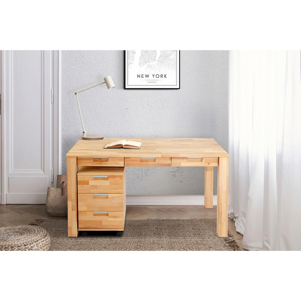 Home affaire Büro-Set »Robi«, (2 tlg.), aus massiv geöltem Buchenholz, bestehend aus Robi Schreibtisch 135 cm und einem Rollcontainer