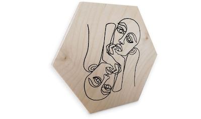 Wall-Art Holzbild »Linework Holzschild Boho Deko«, (1 St.) kaufen