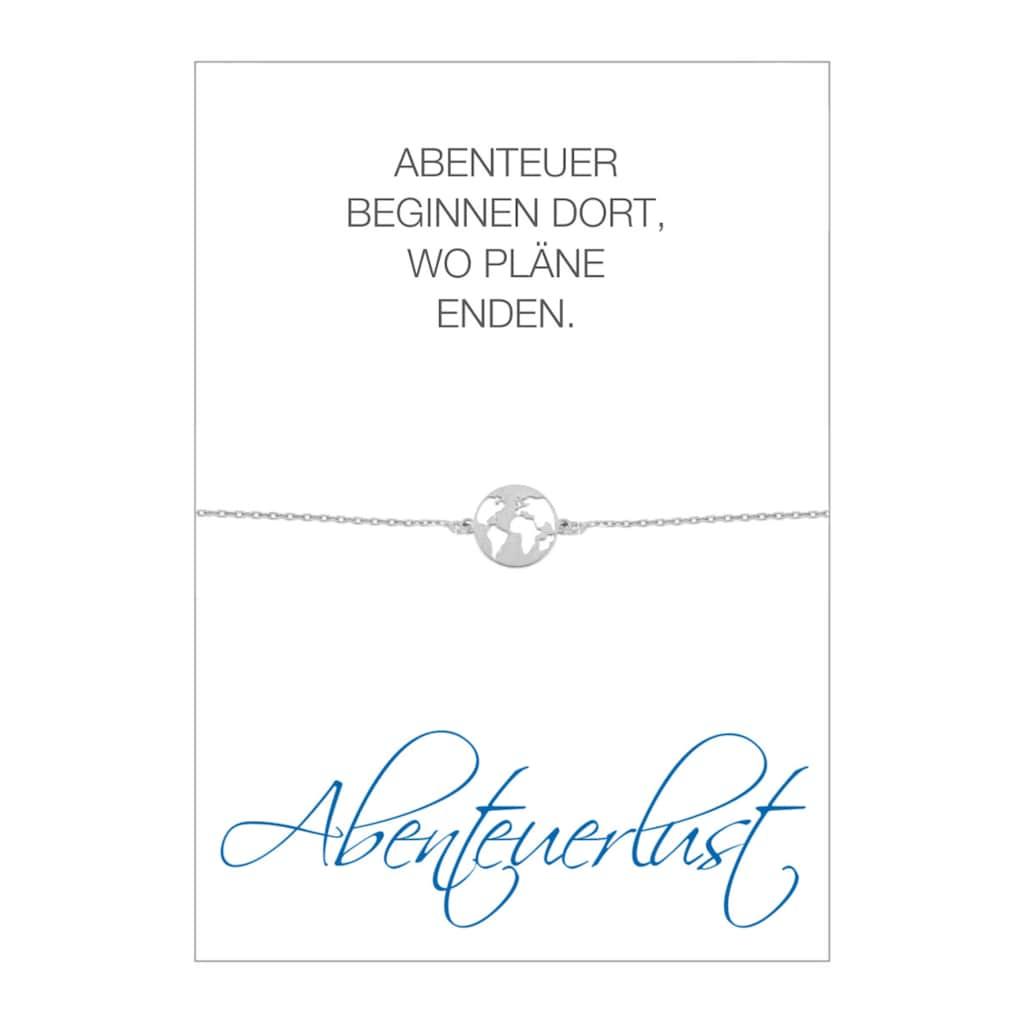 HERZ-KARTE Armband »Abenteuerlust«, Armband mit Welt-Einhänger, 925/- Sterlingsilber rhodiniert