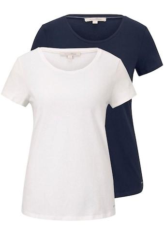 TOM TAILOR Denim T-Shirt, mit Print und Uni-Farben kaufen