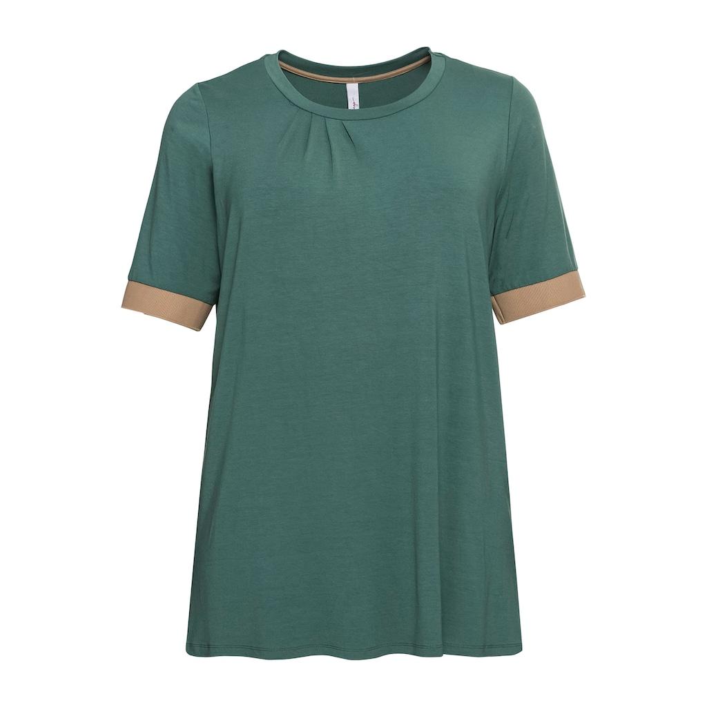 Sheego Rundhalsshirt, mit Kontrastbündchen, aus Viskose