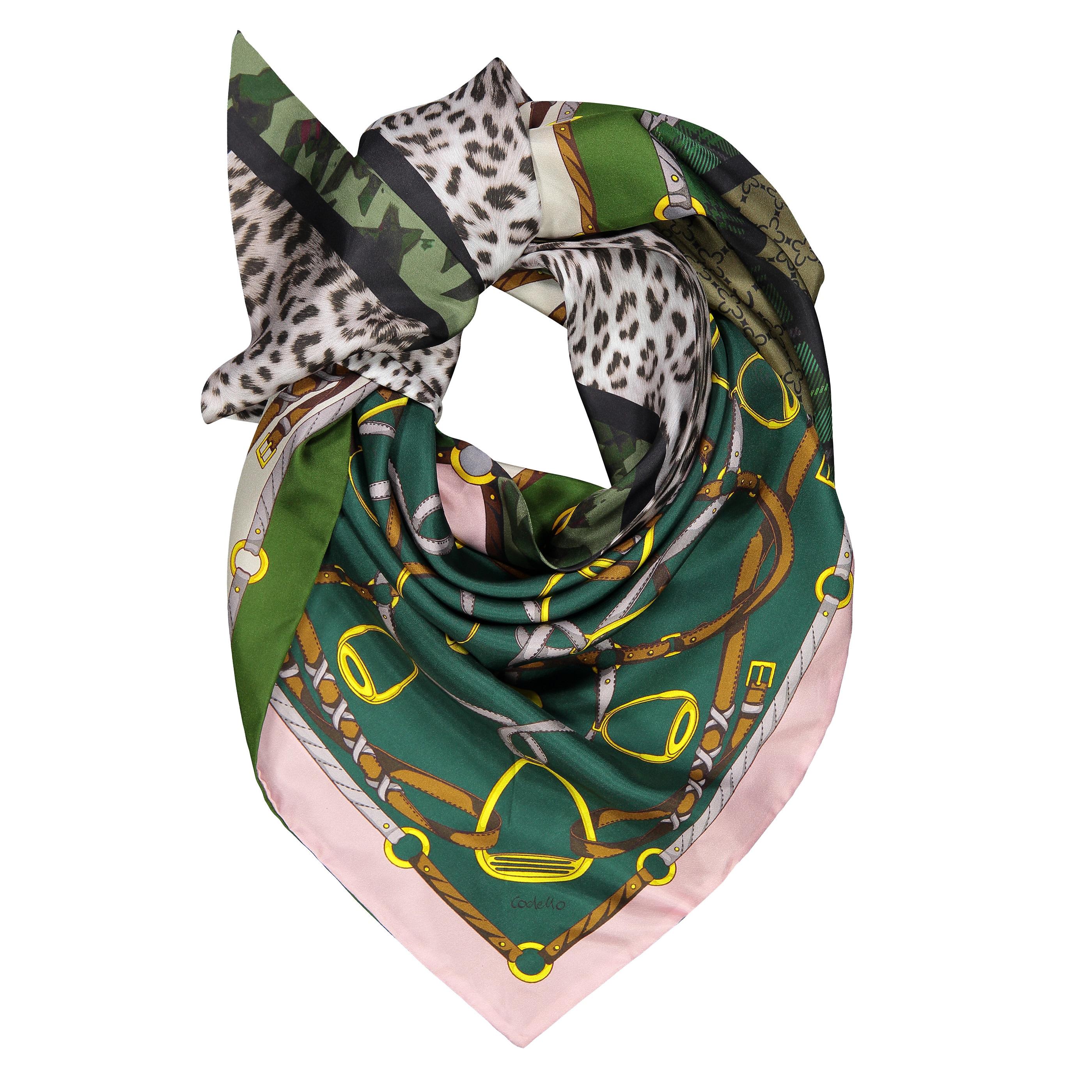 Codello Dreieckstuch, aus reiner Seide grün Damen Dreieckstücher Schals, Loops Tücher Accessoires Dreieckstuch
