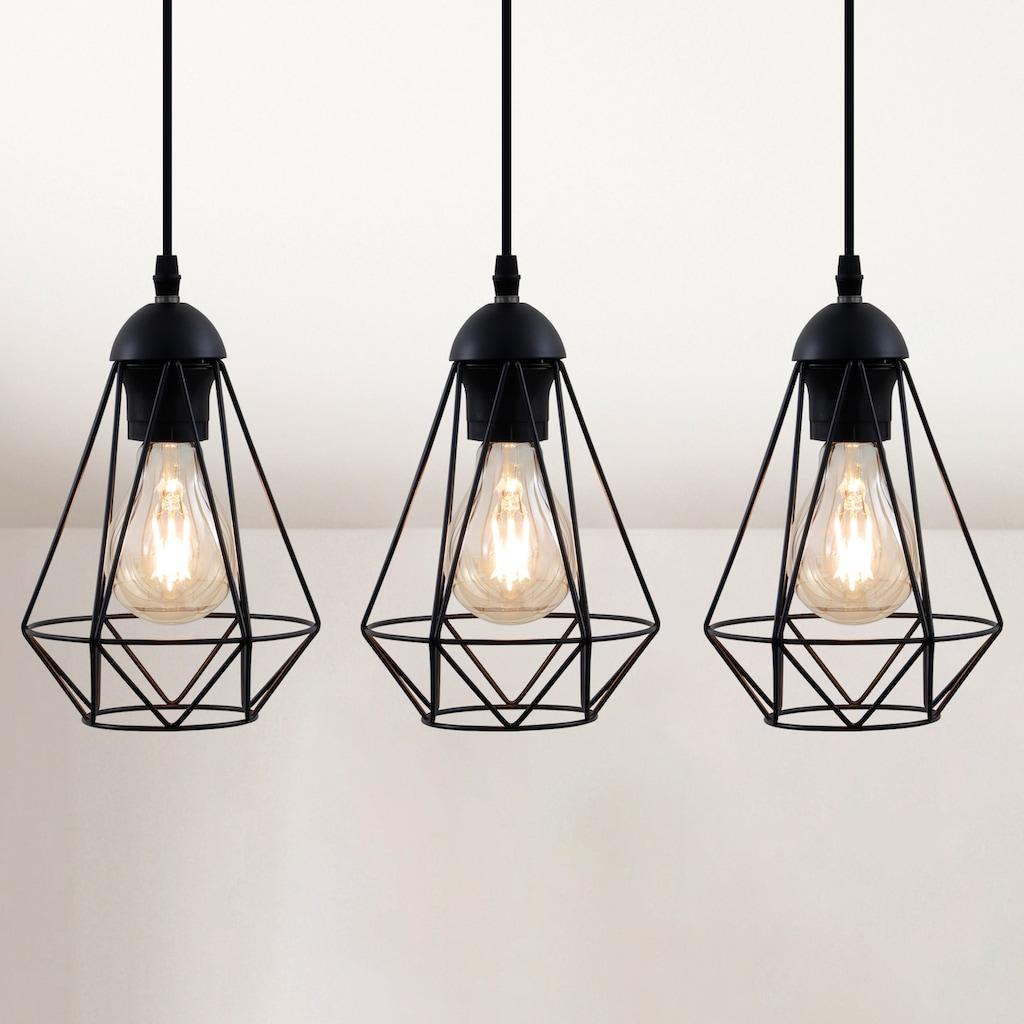 B.K.Licht LED Pendelleuchte, E27, LED Hängelampe schwarz Metall Draht Vintage Retroleuchte Industriell E27