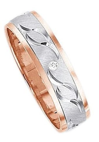 Firetti Trauring mit Gravur »glanz, quer gebürstet, Diamantschnitt, bicolor, 5,0 mm... kaufen